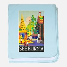 Burma Travel Poster 1 baby blanket