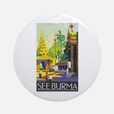 Burma Travel Poster 1 Ornament (Round)