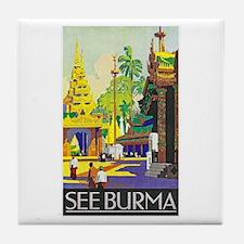 Burma Travel Poster 1 Tile Coaster