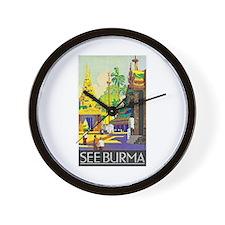 Burma Travel Poster 1 Wall Clock