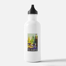Burma Travel Poster 1 Water Bottle