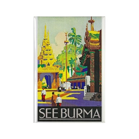 Burma Travel Poster 1 Rectangle Magnet (10 pack)