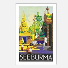 Burma Travel Poster 1 Postcards (Package of 8)