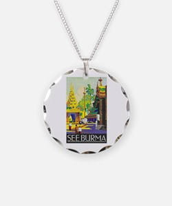 Burma Travel Poster 1 Necklace