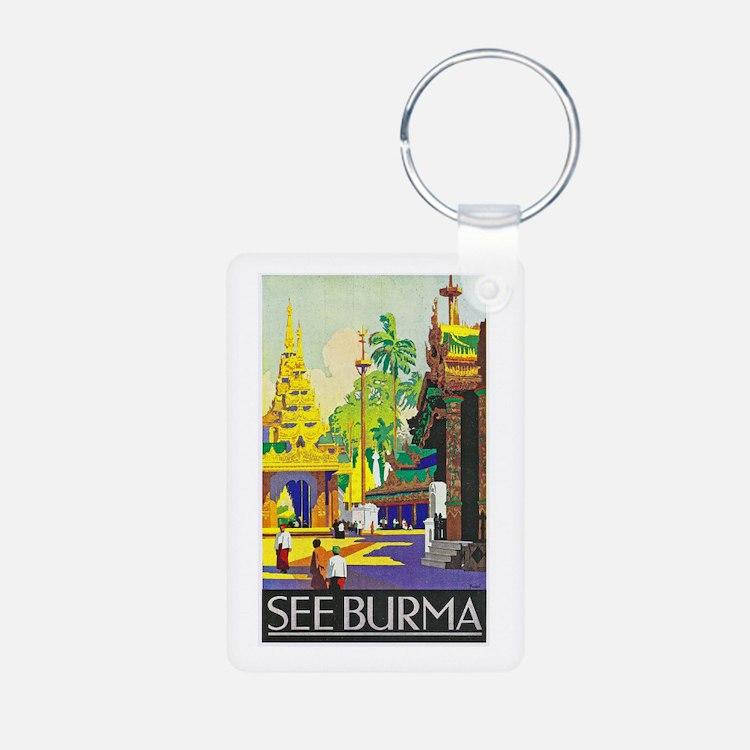 Burma Travel Poster 1 Keychains
