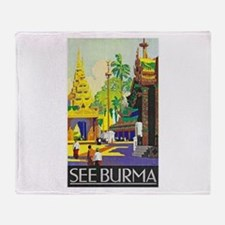 Burma Travel Poster 1 Throw Blanket
