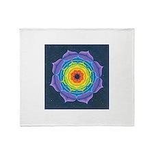 Rainbow Lotus Mandala Throw Blanket