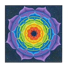Rainbow Lotus Mandala Tile Coaster