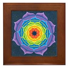 Rainbow Lotus Mandala Framed Tile