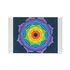 Rainbow Lotus Mandala Rectangle Magnet