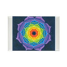 Rainbow Lotus Mandala Rectangle Magnet