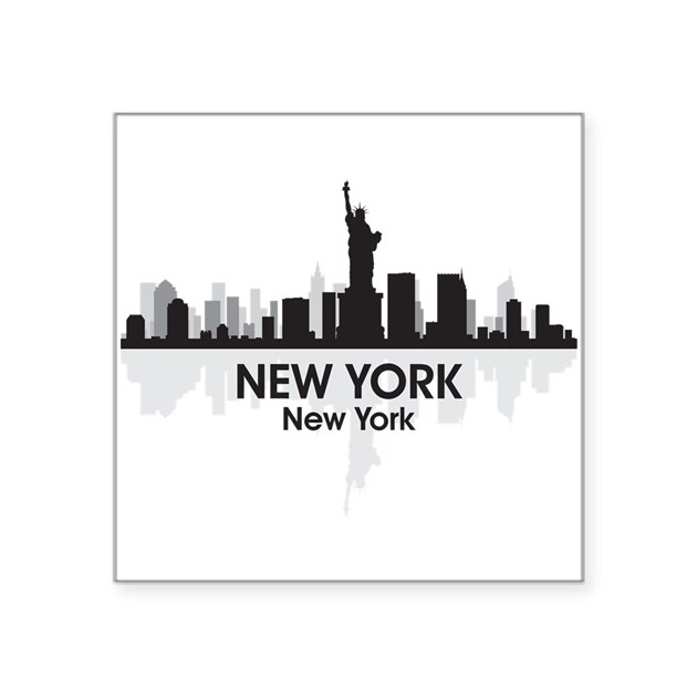 New york skyline square sticker 3 x 3 by america tshirts - Stickers geant new york ...