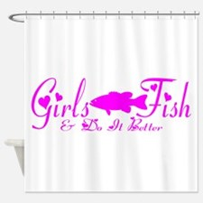 GIRLS BASS FISH Shower Curtain
