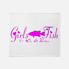 GIRLS BASS FISH Throw Blanket