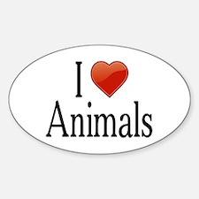 I Love Animals Sticker (Oval)