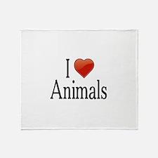 I Love Animals Throw Blanket