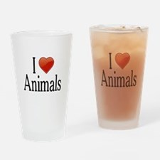 I Love Animals Drinking Glass