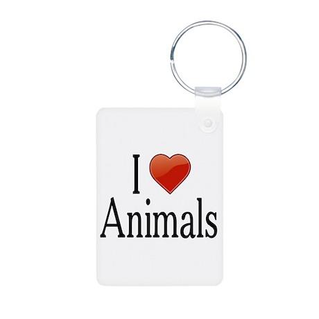 I Love Animals Aluminum Photo Keychain