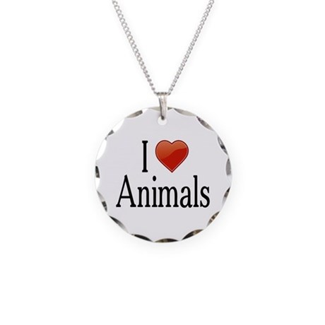 I Love Animals Necklace Circle Charm