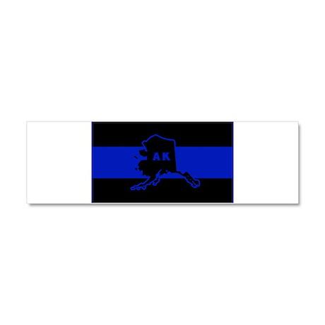 Thin Blue Line - Alaska Car Magnet 10 x 3