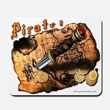 Pirate Treasure Map and Dagger Mousepad