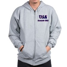 USA Summer 2012 Blue Red Zip Hoodie