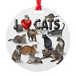 "Round Ornament ""I love Cats"""