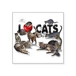 """Square Sticker 3"""" x 3"""" """"I love Cats"""