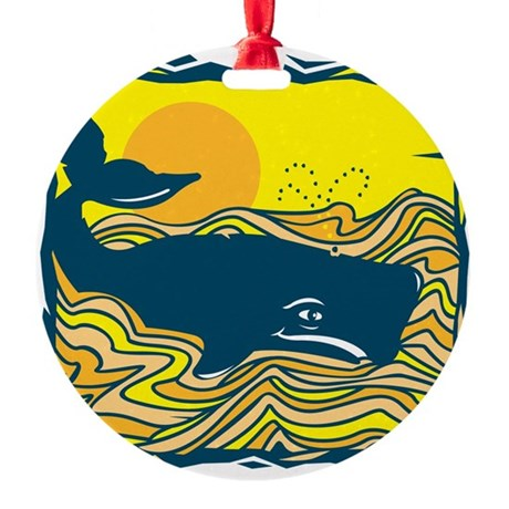 swimming whale design.png Round Ornament