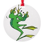 funny prince toad.png Round Ornament