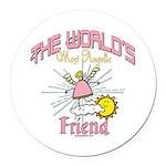 Angelic Friend Round Car Magnet