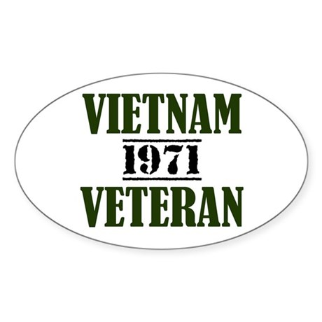 VIETNAM VETERAN 71 Sticker (Oval)