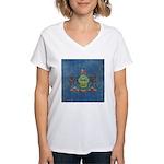 Vintage Pennsylvania Flag Women's V-Neck T-Shirt