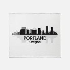 Portland Skyline Throw Blanket