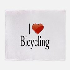 I Love Bicycling Throw Blanket