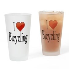 I Love Bicycling Drinking Glass