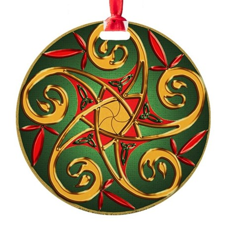 Celtic Pentacle Spiral Round Ornament