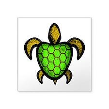 "Green Shell Turtle Square Sticker 3"" x 3"""