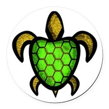Green Shell Turtle Round Car Magnet