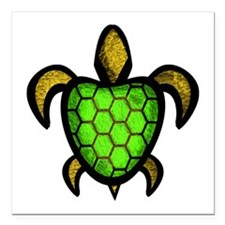 "Green Shell Turtle Square Car Magnet 3"" x 3"""