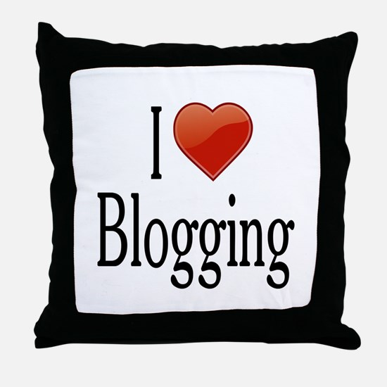 I Love Blogging Throw Pillow