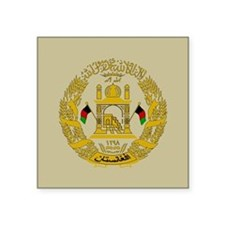 "Afghanistan Coat Of Arms Square Sticker 3"" x 3"""