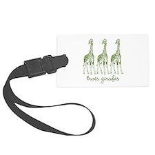 Three Giraffes (green) Luggage Tag