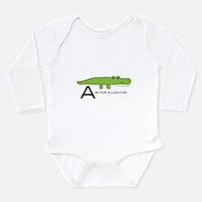 A is for Alligator Long Sleeve Infant Bodysuit