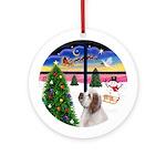 XmasWindow-Clumber Spaniel Ornament (Round)