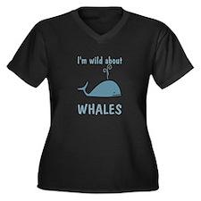 Wild About Whales Women's Plus Size V-Neck Dark T-
