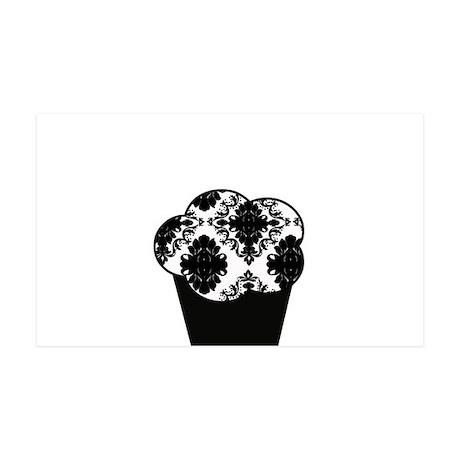 Cute Black and White Damask Cupcake 35x21 Wall Dec