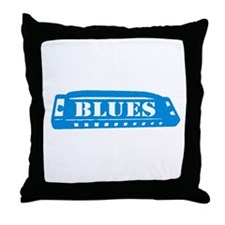 Blues Harmonica Throw Pillow