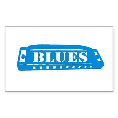 Blues Harmonica Rectangle Sticker