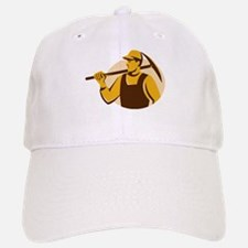 miner worker with pick ax retro Baseball Baseball Cap